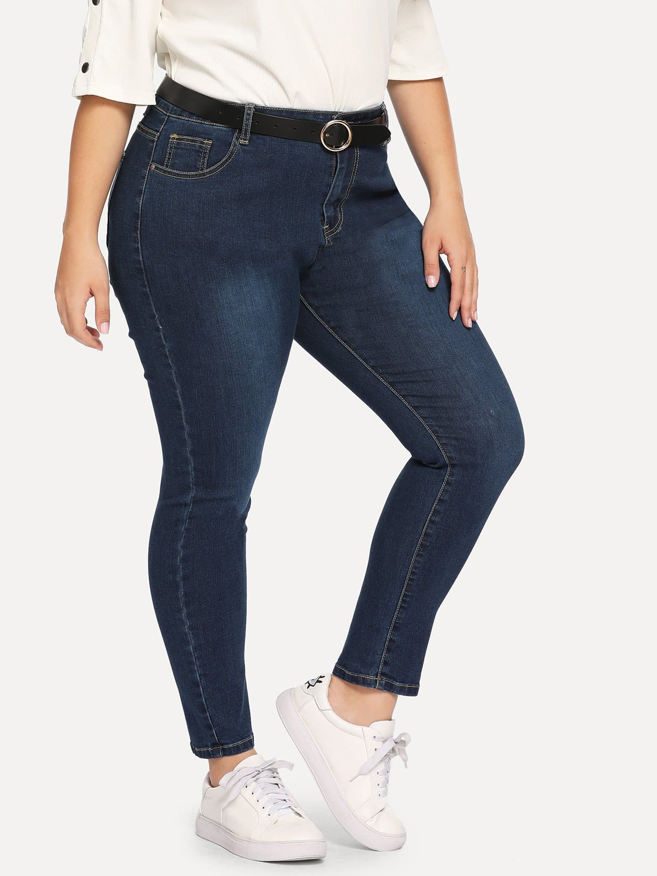 Купить Размера плюс рваные джинсы, Carol, SheIn