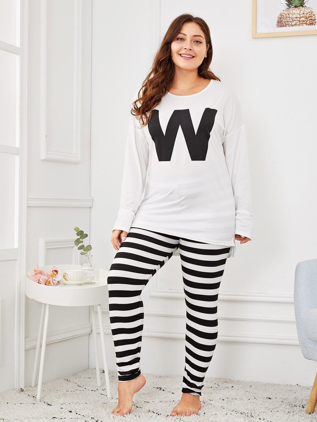 Купить Размера плюс полосатая пижама с принтом текстовым, Carol, SheIn