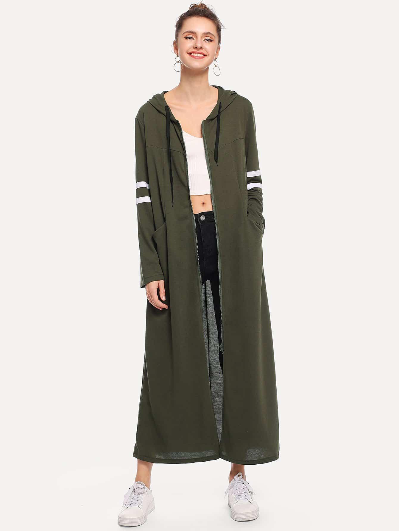 Контрастное длинное пальто с капюшоном в полоску SheIn