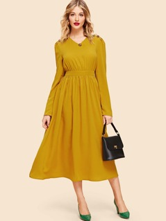Button Detail Flare Dress