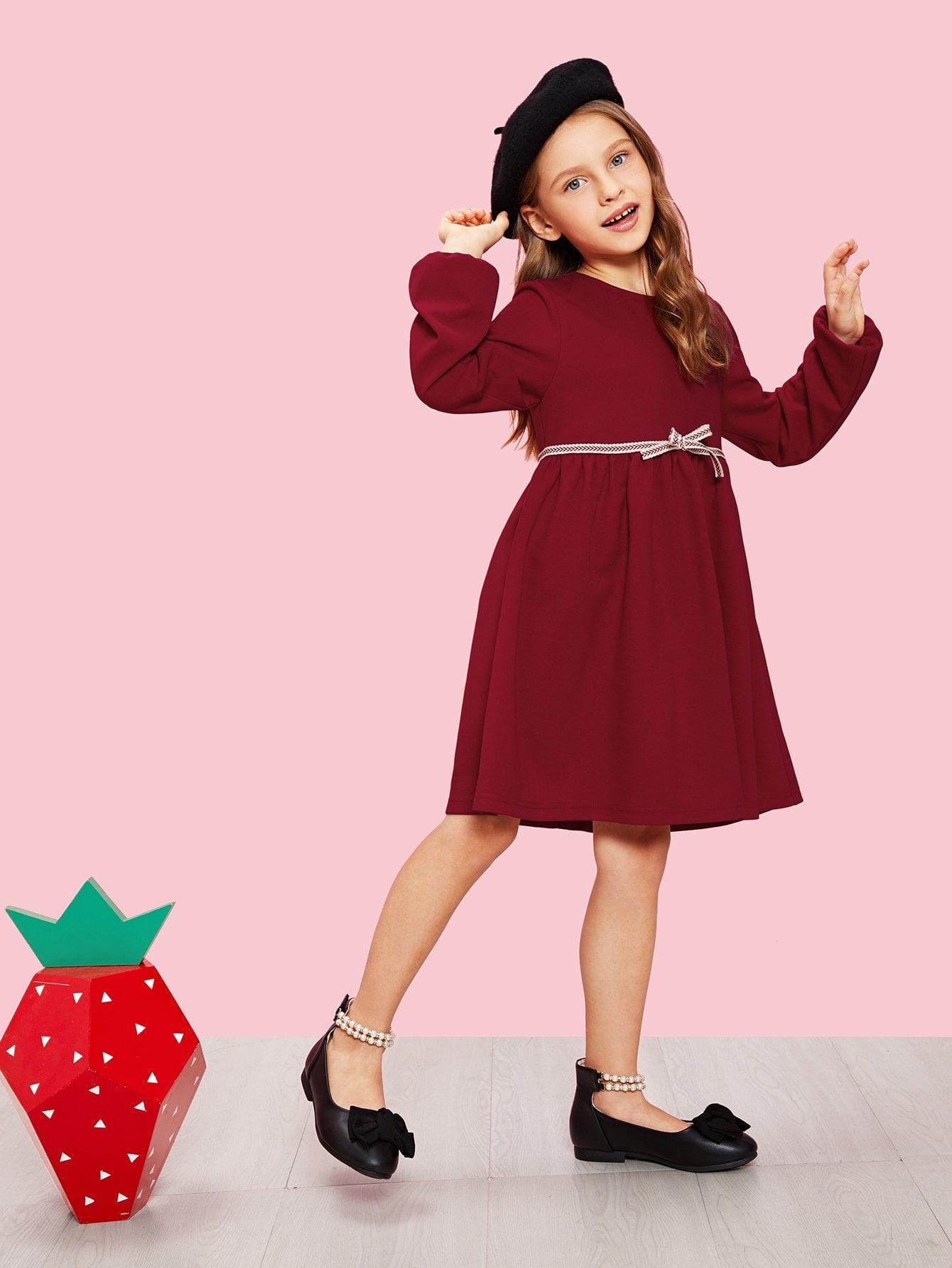 Купить Для девочек платье на молнии сзади с бантом, Anna C, SheIn