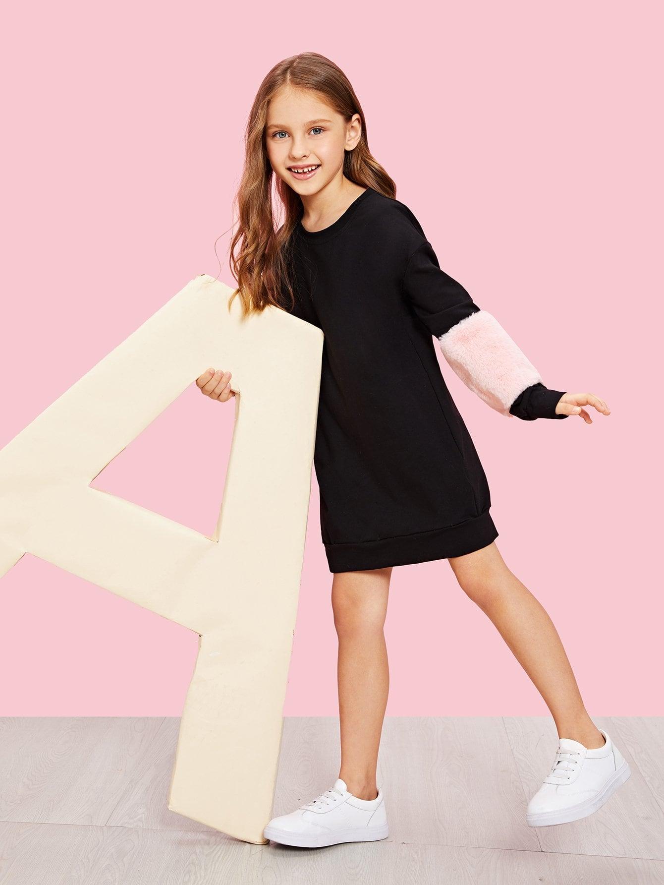 Для девочек туника платье с тедди рукавом от SheIn