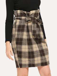 Belted Ruffle Waist Plaid Skirt