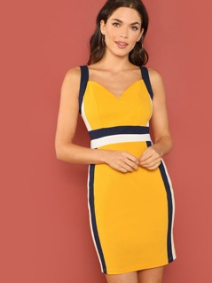 Thick Strap Color-Block Dress