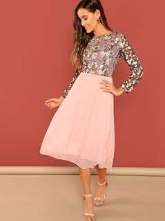 Floral Embroidered Top Combo Midi Dress