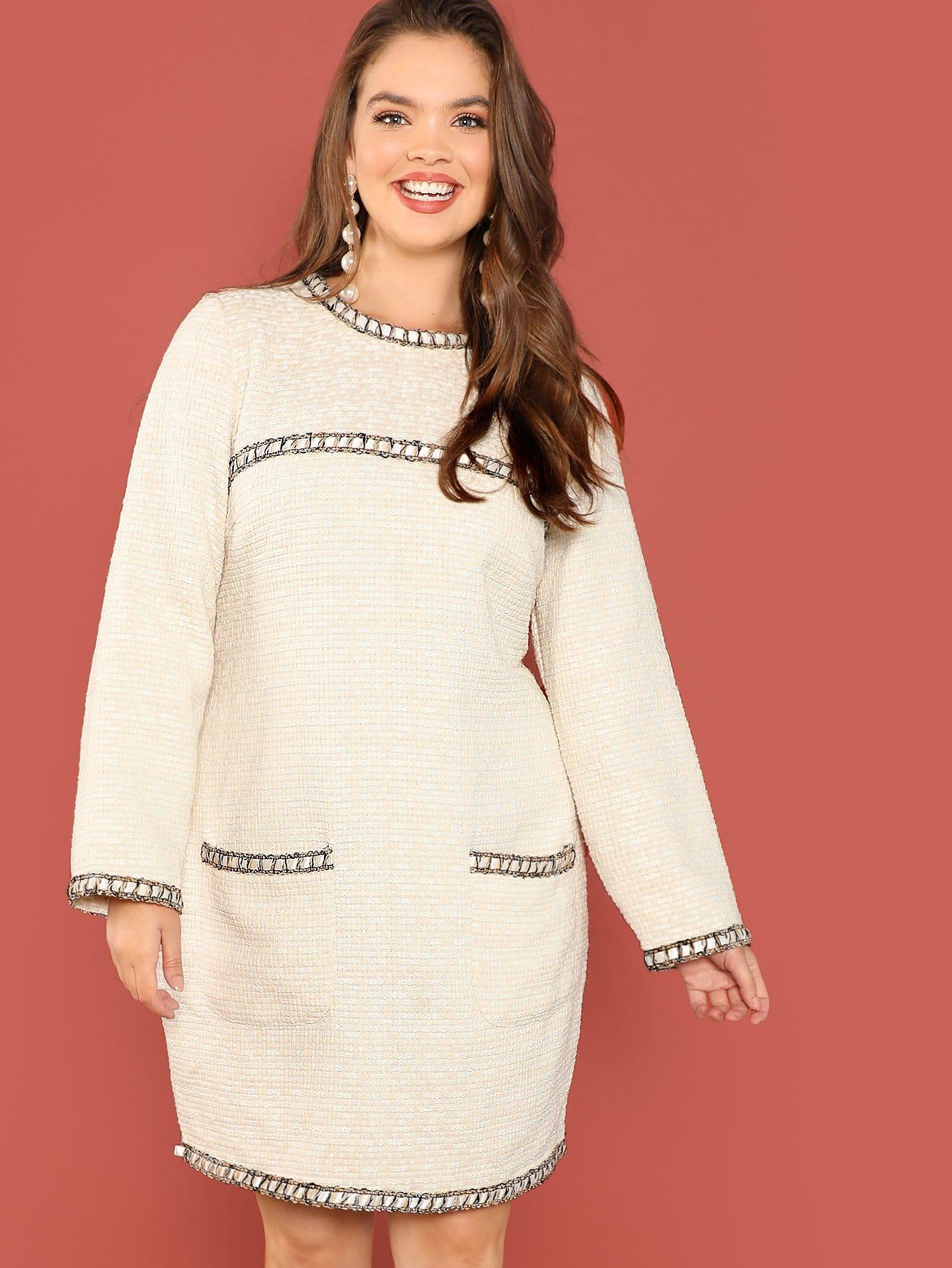 Купить Плюс размеры платье с карманом, Faith Bowman, SheIn