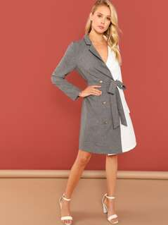 Spliced Belted Blazer Dress