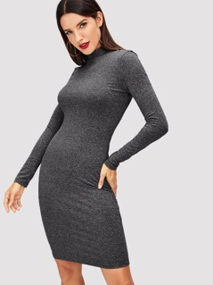 Mock Neck Heathered Knit Dress