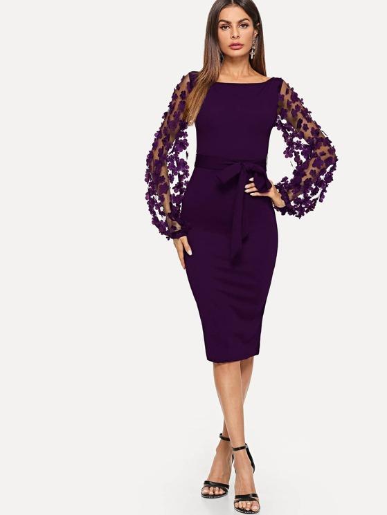 9818f1812c 3D Applique Mesh Sleeve Self Tie Dress | MakeMeChic.COM