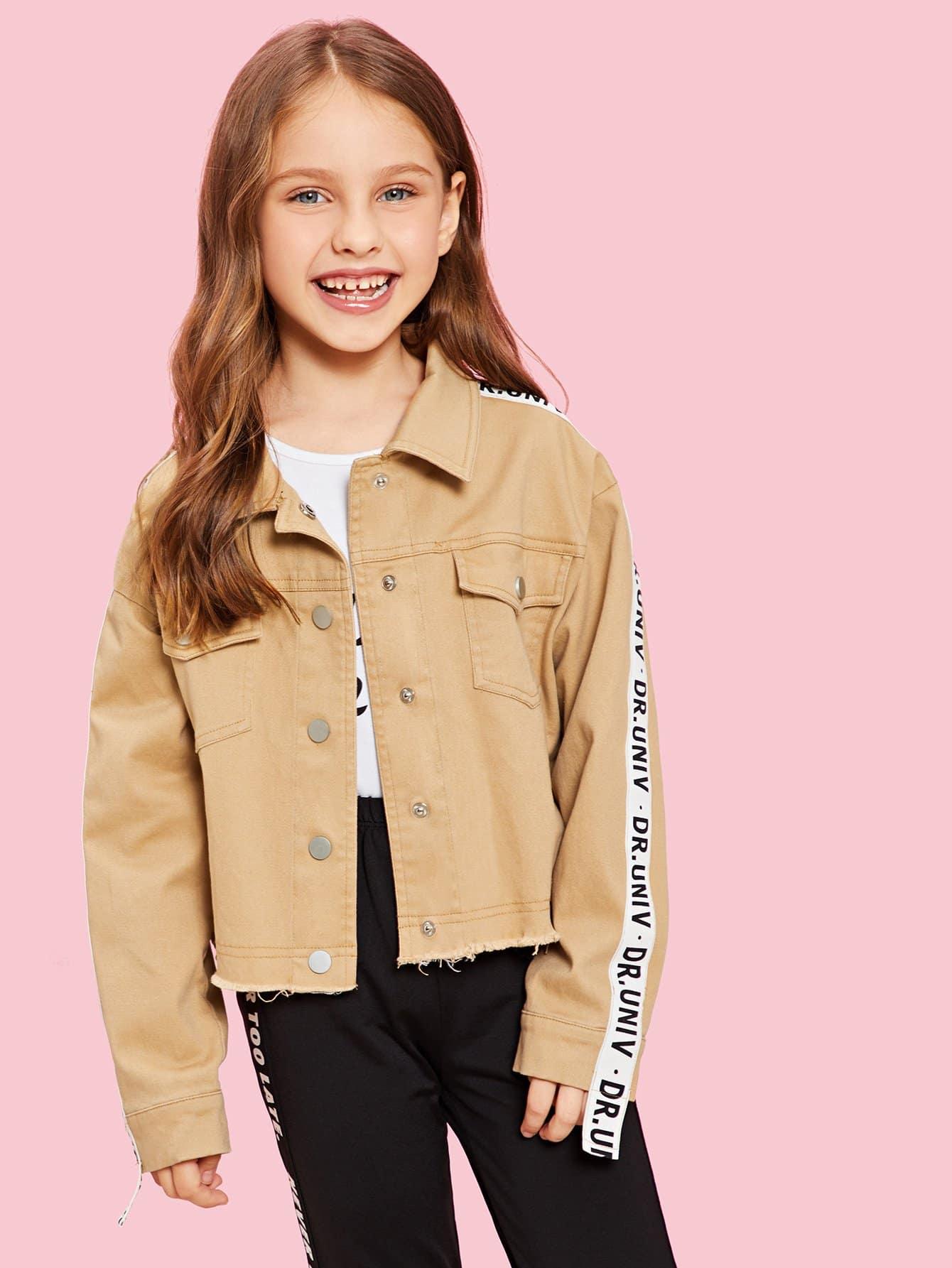 Купить Для девочек куртка с принтом букв с карманом, Anna C, SheIn