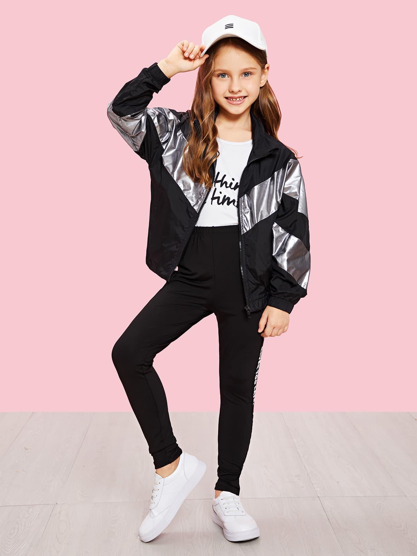 Купить Для девочек контрастная куртка на молнии, Anna C, SheIn