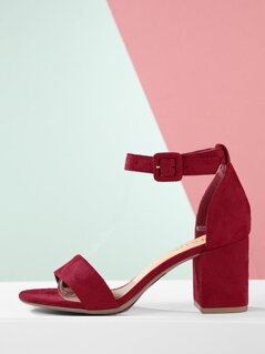 Faux Suede Open Toe Ankle Strap Block Heels