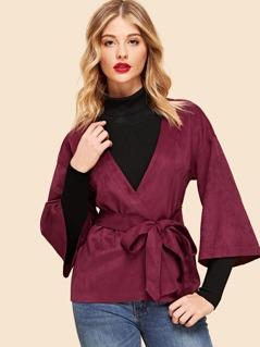 Slit Hem Belted Wrap Coat