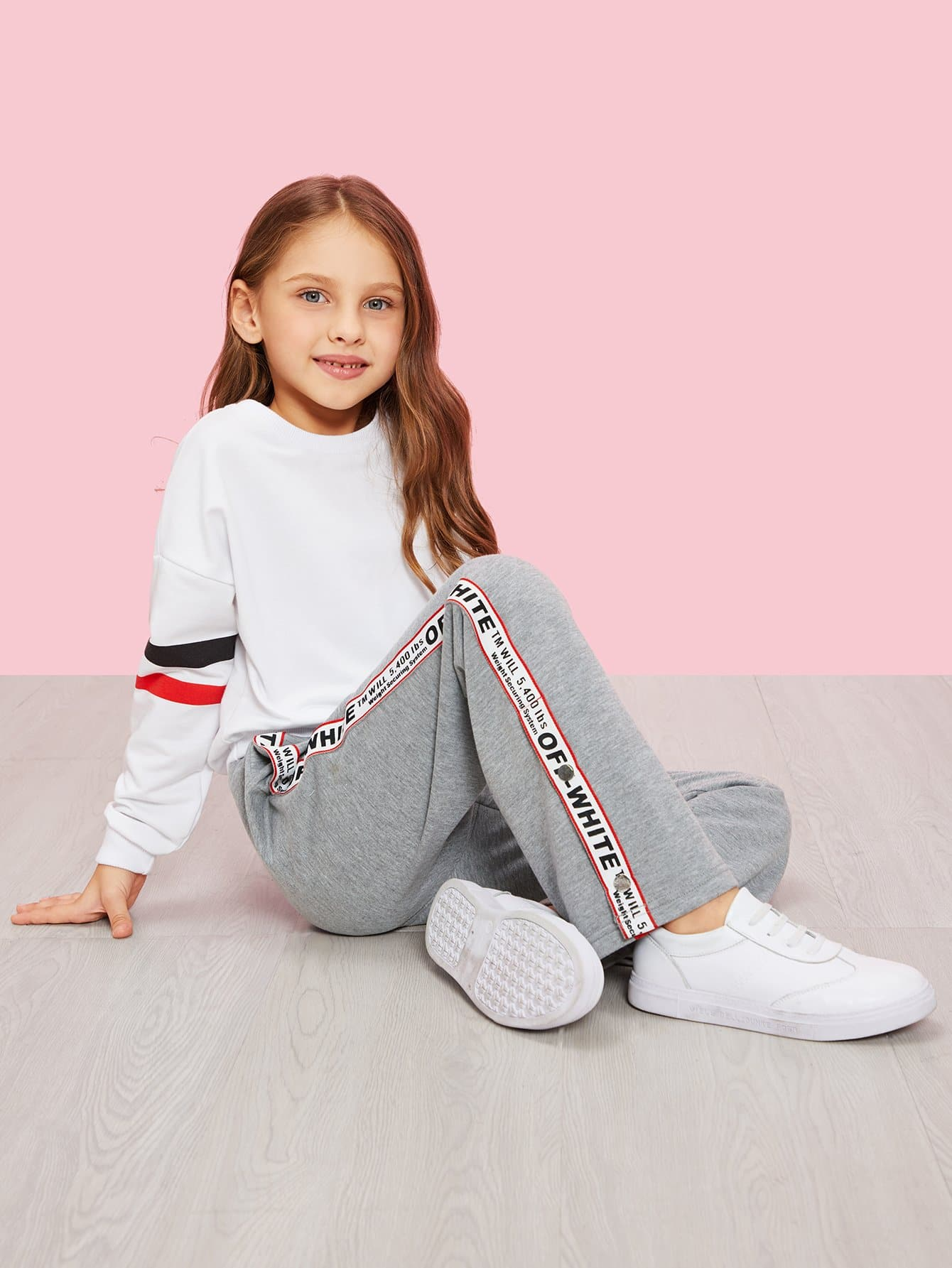 Купить Для девочек широкие брюки с принтом букв, Anna C, SheIn