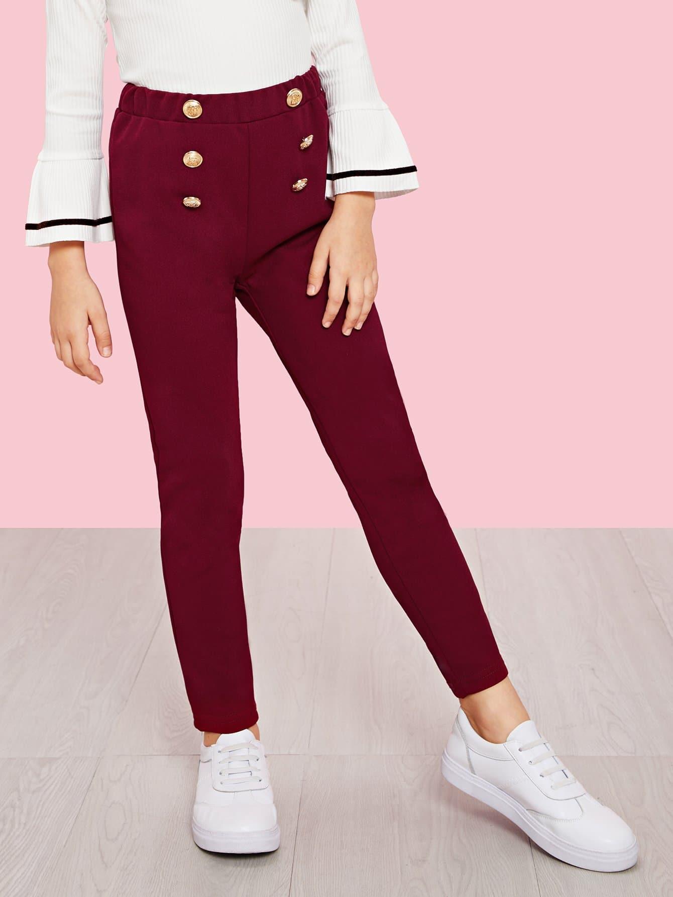 Двубортные брюки Джерси для девочек, Anna C, SheIn  - купить со скидкой