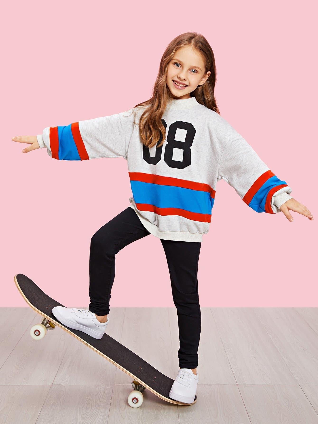 Купить Для девочек свитшот в полоску с принтом букв, Anna C, SheIn