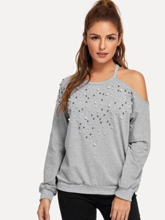 Cold Shoulder Pearl Beaded Detail Pullover