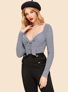 Knot Front Gingham Print Tee