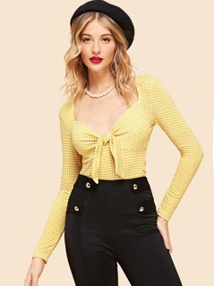 Knotted Sweetheart Neckline Houndstooth Top