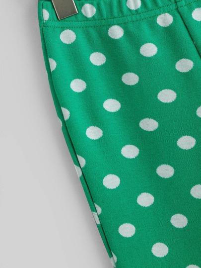 SheIn / Girls Contrast Mesh Top & Polka Dot Pants Set