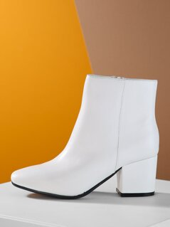 Pointed Toe Side Zip Block Heel Booties