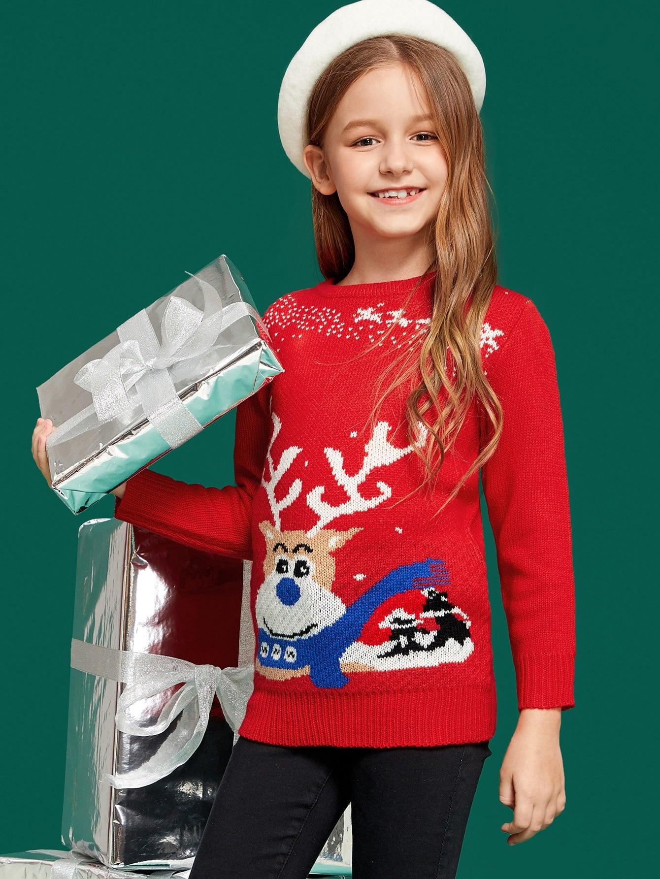 Купить Для девочек свитер с рождественским принтом, Dariab, SheIn