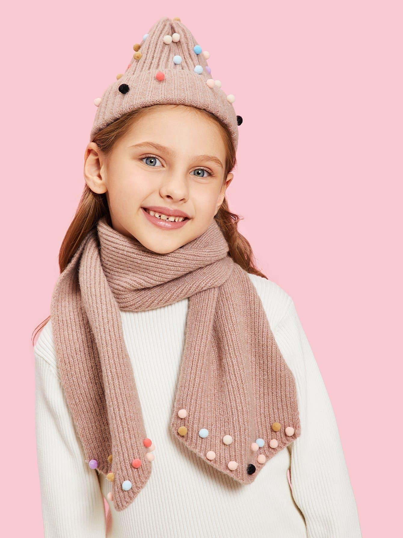 Купить Для девочек шарф с помпоном и шапочки шляпа, null, SheIn