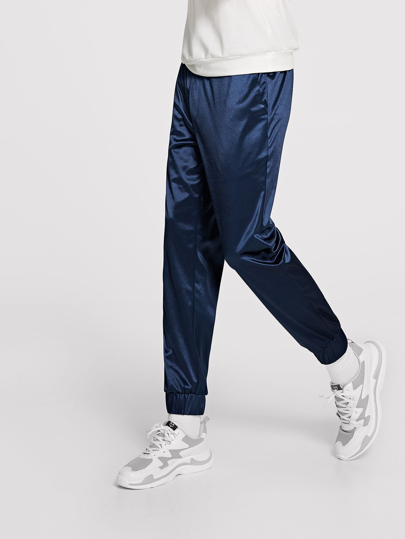 Фото - Мужские однотонные брюки с кулиской от SheIn цвет темно синий