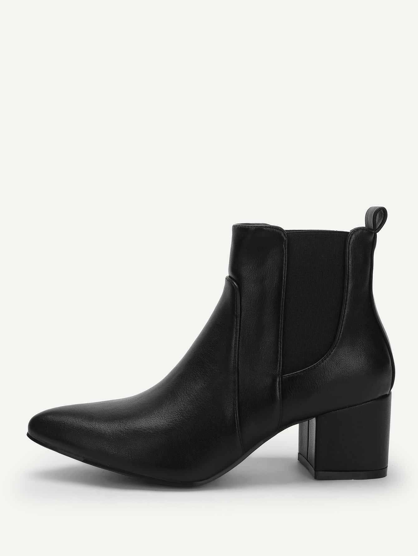 Купить Однотонные остроконечные сапоги на высоких каблуках, null, SheIn