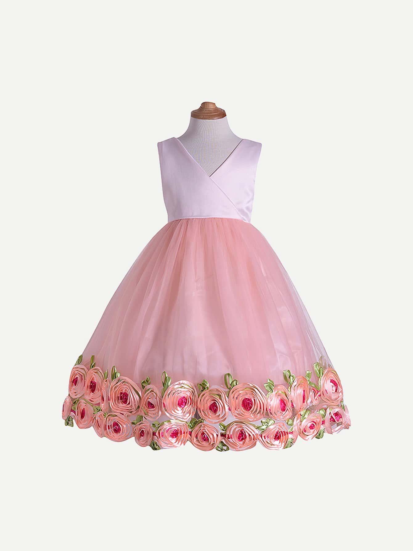 Фото - Контрастное платье с принтом трёхмерных цветов для маленьких девочек от SheIn цвет розовые