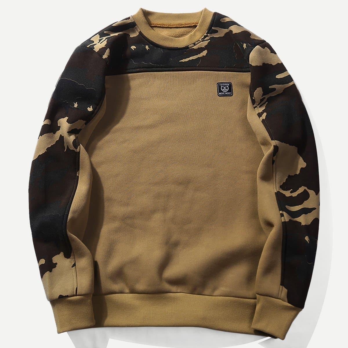 Khaki Casual Camouflage Sweatshirts voor heren