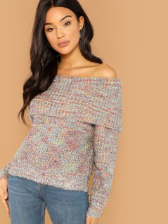 Sparkle Tinsel Fold Over Off The Shoulder Sweater