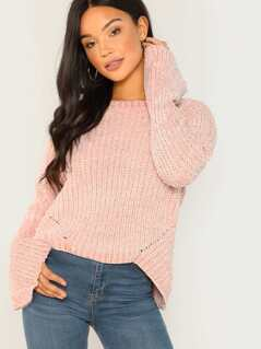 Chenille Knit Flared Sleeve Pullover Sweater