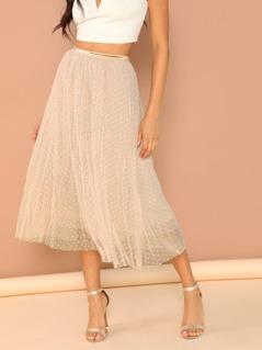 Polka Dot Elastic Waist Layered Tulle Midi Skirt