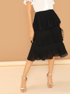 Pleated Tiered Layer Elastic Waist Midi Skirt