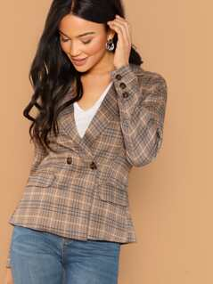 Double Breasted Button Front Plaid Blazer
