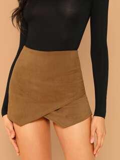 Corduroy Overlay Back Zip Skort Shorts