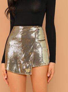 Sequined Overlay Back Zip Skort Shorts