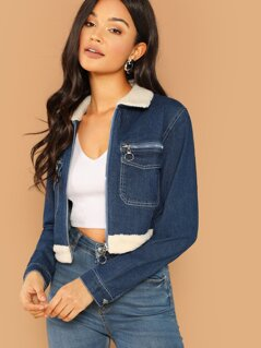Zip Front Faux Sherpa Trim Crop Denim Jacket