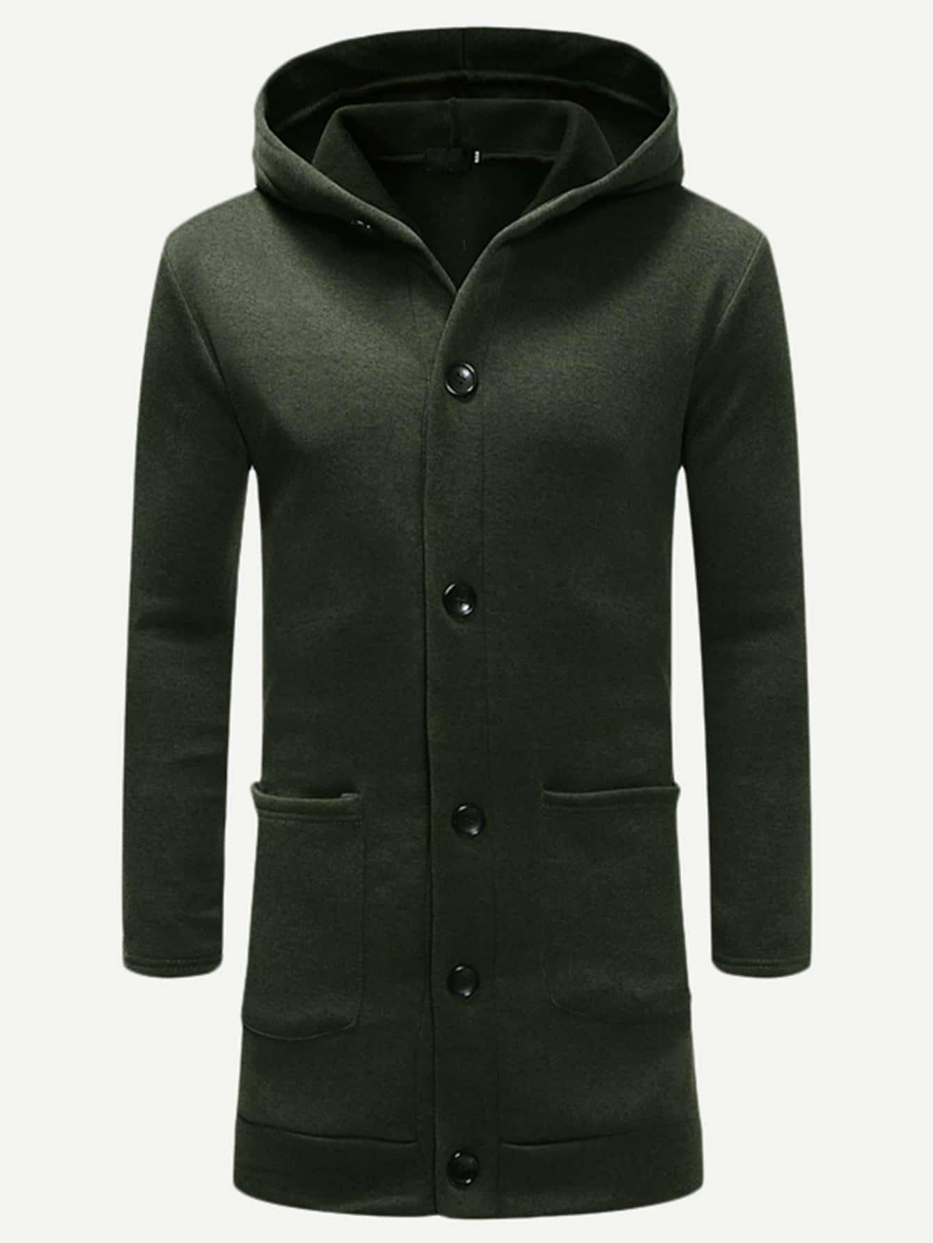 Купить Мужская однотонная длинная куртка с капюшоном, null, SheIn