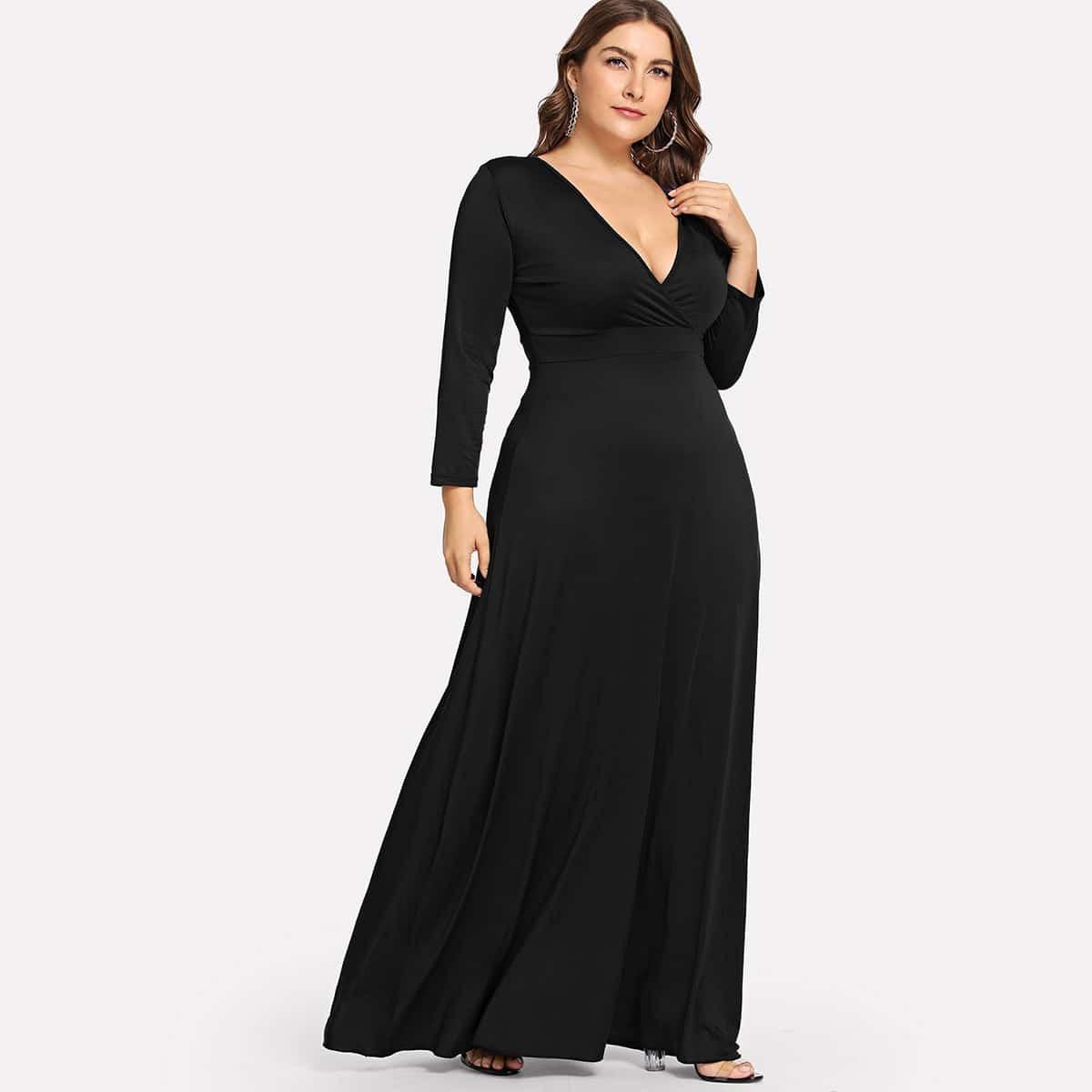 Zwart Casual Vlak Grote maten jurken