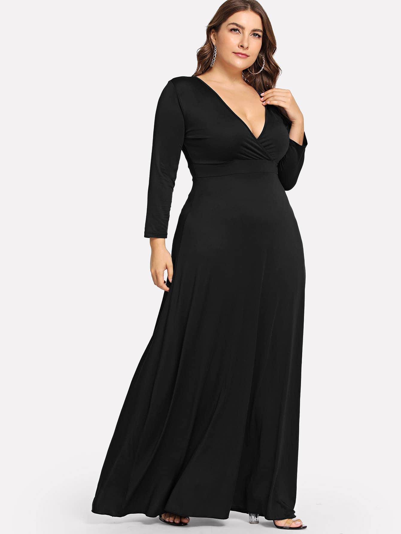 Купить Размера плюс однотонное платье с низким V-образным вырезом, Franziska, SheIn