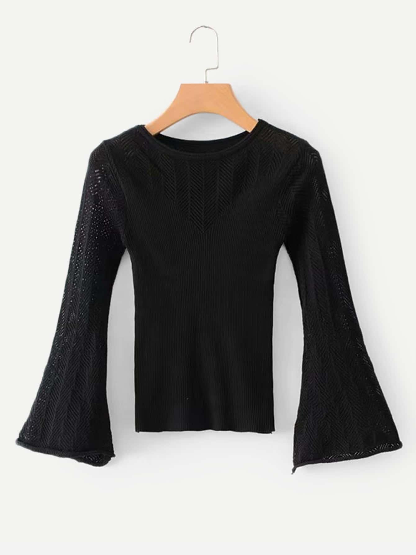 Купить Однотонный свитер с разрезами рукава с розеткой, null, SheIn
