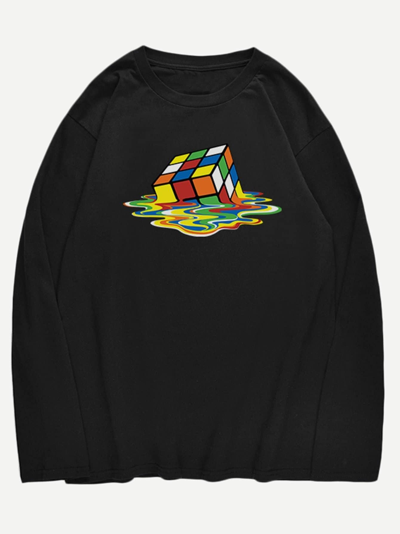 Фото - Мужская футболка с принтом волшебного куба от SheIn черного цвета