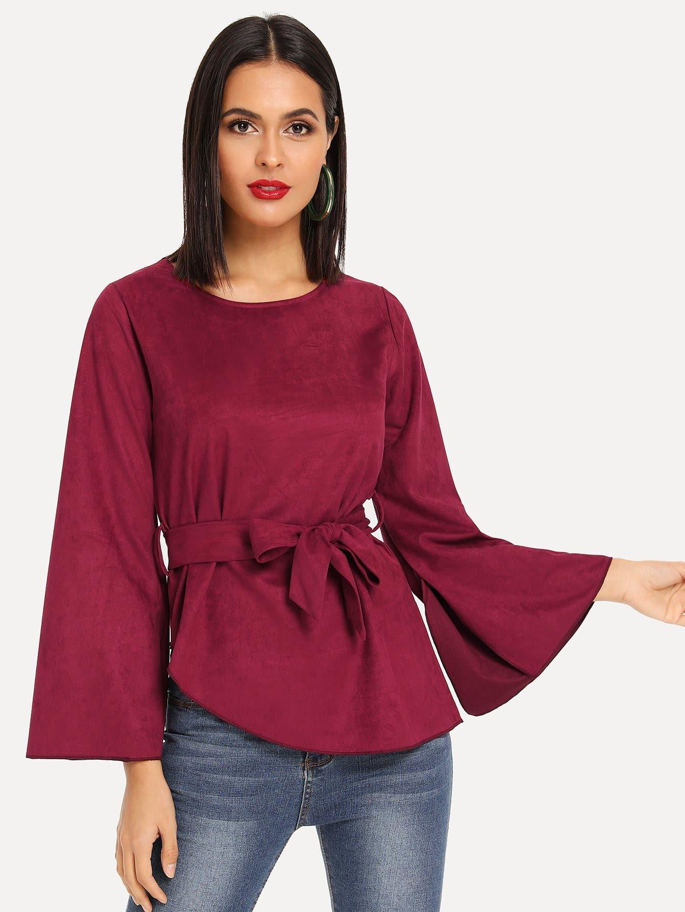 Купить Асимметричная блуза с поясом рукава с розеткой, Vero, SheIn