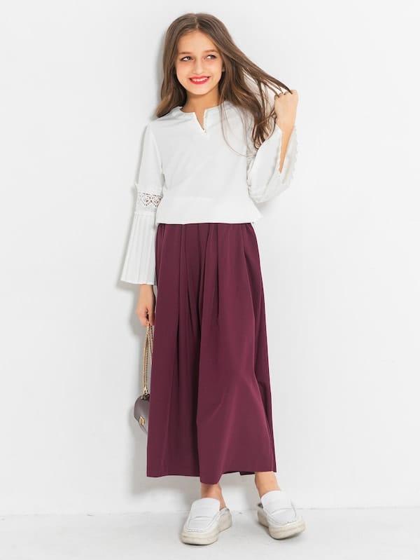 Ровный цвет Складки Многоцветный Комплекты одежды для девочек из 2 вещей, null, SheIn  - купить со скидкой