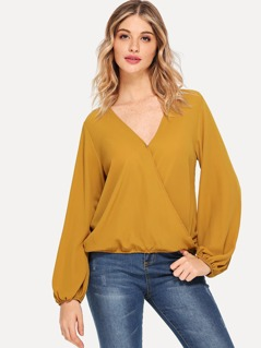 Elastic Hem Wrap V-Neck Top