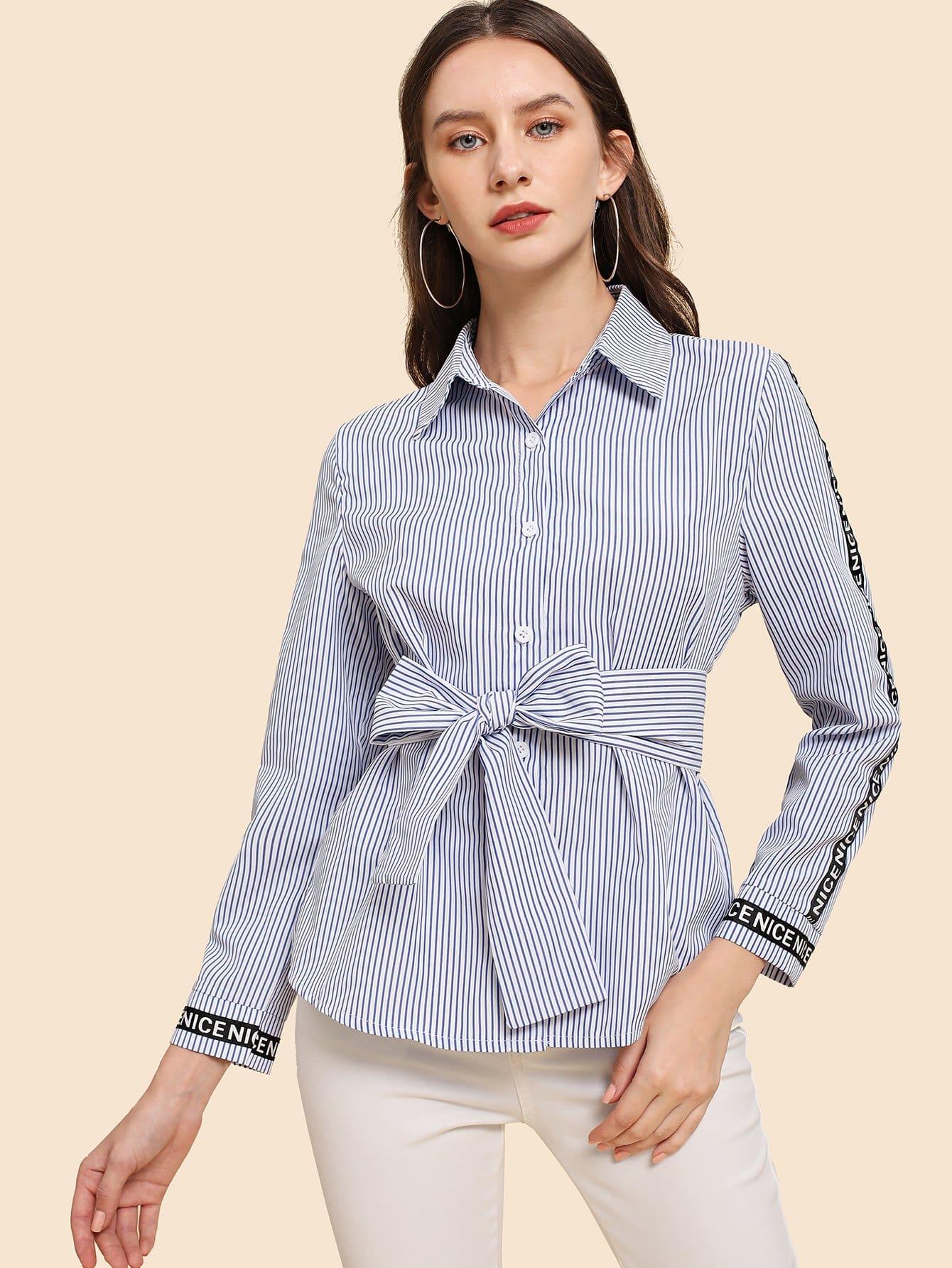 Купить Тонкая-полосатая футболка с украшением пуговицы, Kate B, SheIn