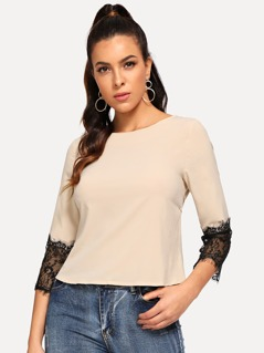 Contrast Lace Cuff Blouse
