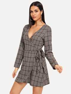 Knot Side Surplice Wrap Plaid Dress